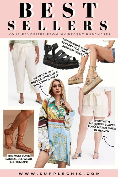 Lace up flat sandals, Black platform sandal, oversized shirt dress, #PlusSize paper bag shorts, White linen pants, shirt jacket zebra all your current favorites. And our best sellers  #LTKSeasonal #LTKcurves #LTKstyletip