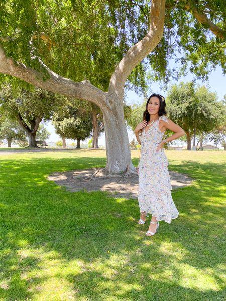 http://liketk.it/3hbfK #liketkit @liketoknow.it #liketkit @liketoknow.it summer dress, wedding guest dress, gold flower headband, crystal clear heels, clutch purse #LTKstyletip #LTKunder100 #LTKbeauty Shop my daily looks by following me on the LIKEtoKNOW.it shopping app, white dresses, vacation outfits, maxi dress