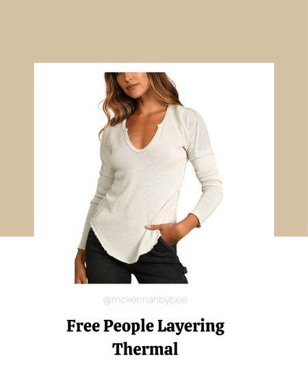 Fall fashion, fall outfits, free people, thermal, layering top.  #LTKunder100 #LTKbacktoschool #LTKSeasonal