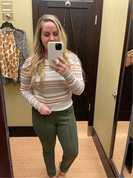 Workwear, office outfit, back to work, business casual, kohl's, pull on pants in olive, neutral sweater, Nine West  #LTKstyletip #LTKunder100 #LTKworkwear