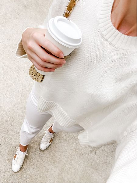 Layering summer whites for an effortless transitional look. This Everlane sweater is no longer available, but I linked similar cotton crewneck options for the beach and early fall. Jeans run TTS.