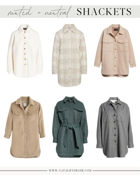 Shacket, Shackets, Shirt Jacket, Oversized Shirt Jacket  Muted and neutral shirt jackets to try this season if you're not into the bold colors or plaids. These will incorporate more seamlessly into your existing wardrobe and can look feminine in classic when belted and paired with the right pieces.  For 5 tips on styling a shirt jacket so that it looks classic, not bulky, head to natalieyerger.com today.  #shacket #shackets #shirtjacket #oversizedshirtjacket #whiteshirtjacket #tanshirtjacket #neutralshirtjacket