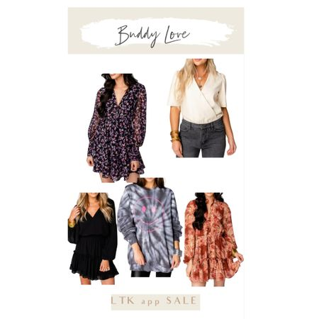 SALE!! Prettiest dresses and fun new tops! Perfect Fall pieces.  @shopbuddylove  Copy the code & paste in during checkout.   I wear size small in dresses.   #LTKSeasonal #LTKunder100 #LTKSale