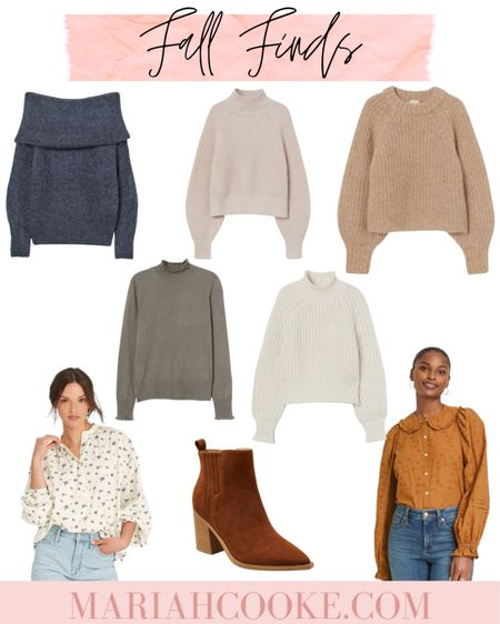 Fall sweaters, shirts, and booties that I've had my eye on. All are under $50! From target and H&M.   #LTKSeasonal #LTKstyletip #LTKunder50