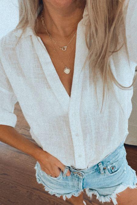 Swimsuit cover up Gold necklaces Jean shorts TTS   #LTKswim #LTKunder50 #LTKtravel