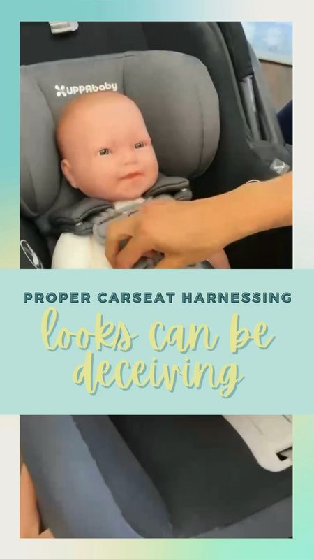 👀👀LOOKS CAN BE DECEIVING!   At first place, this baby looks like they are properly harnessed in their carseat. But there is TOO MUCH SLACK!  Use the pinch test to determine if the straps are too loose. Make sure to pull from the straps at baby's hips to remove extra slack for proper harnessing.  Improper harnessing can be a matter of life or death or serious injury. Empower yourself to know how to properly harness!    #LTKbump #LTKkids #LTKbaby