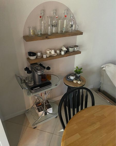 So excited with my arch decal set up! I utilized unused glassware and mugs in my kitchen I barely use to display! Bought some shelves from Amazon as well as additional accent table from Target! Shop everything below! #target #accenttable #blackaccenttable #archdecal #floatingshelves #glassware #glassbottles #coffeemugs @liketoknow.it.home #LTKstyletip #LTKhome You can instantly shop my looks by following me on the LIKEtoKNOW.it shopping app http://liketk.it/3izOd #liketkit @liketoknow.it