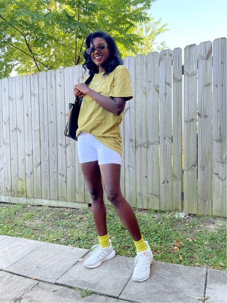 Hiking outfit! White biker shorts with pockets, chartreuse oversized tee, eq21 adidas running shoes, lime green socks and tortoise sunglasses.   #LTKGiftGuide #LTKHoliday #LTKunder100
