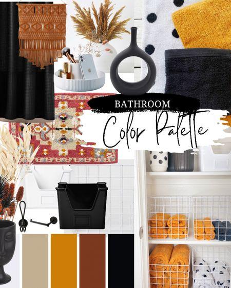 Modern Bohemian Guest Bathroom - Gold, Orange, Rust, Tan, Black, White  http://liketk.it/3jDay   Shop links on my @liketoknow.it @thedottedbow  #liketkit #LTKhome