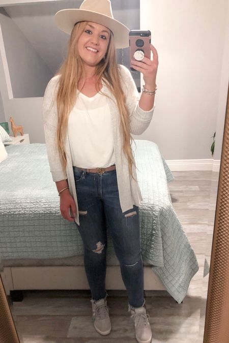 Light gray cardigan with pockets from Target and white shirt sleeve tee shirt with distressed jeans from Express paired with flat brim hat and gray adidas courtset sneakers    http://liketk.it/2GzuW #liketkit @liketoknow.it #LTKshoecrush #LTKtravel #LTKunder50