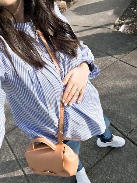 Spring outfit , maternity style , bump style , ltkbump , pregnancy, style , blouses , sneakers , white sneakers ,   #LTKbump #LTKsalealert #LTKunder50