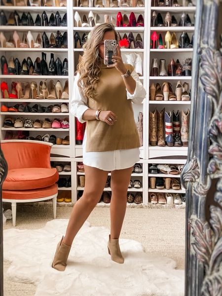 NSale favorites. WAYF turtleneck sweater vest. I sized up to a L for an oversized fit. Vince Camuto nude booties are a wardrobe staple. I wear them year round.   #LTKsalealert #LTKunder100
