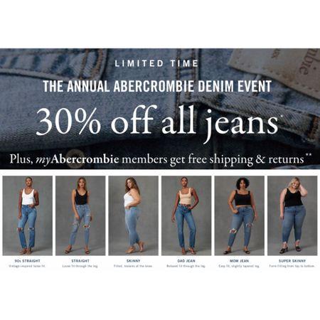 Score 30% off all jeans at the Annual Abercrombie Denim Event now through 8/8!   #LTKcurves #LTKsalealert #LTKunder100