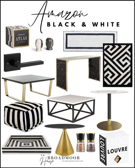 Amazon home, Amazon Finds, home Decor, Jonathan Adler, salt and pepper Mills, salt and pepper shakers, bathroom rug, doormat, tray, black-and-white decor, outdoor furniture, outdoor pool, coffee table, Console table, side table, accent table, door knobs, matte black, coffee table book, brass Decor, Modern Decor, Greek key,  #LTKstyletip #LTKhome #LTKsalealert