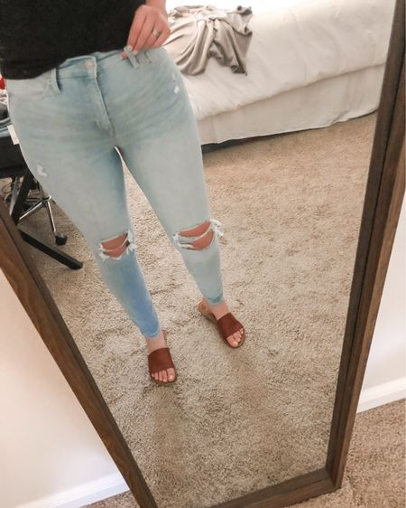 New favorite jeans for sure! They're structured but still a little stretchy, and actually high waisted. Plus I caught them on sale for under $30 AND they come in Tall! http://liketk.it/2ONJf #liketkit @liketoknow.it #LTKunder50 #LTKJeans
