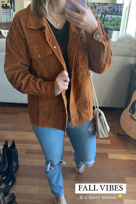 Rust corduroy jacket screams FALL 🍁 the jacket is not super thick but it is under $40 and perfect for styling   #LTKstyletip #LTKunder50 #LTKsalealert