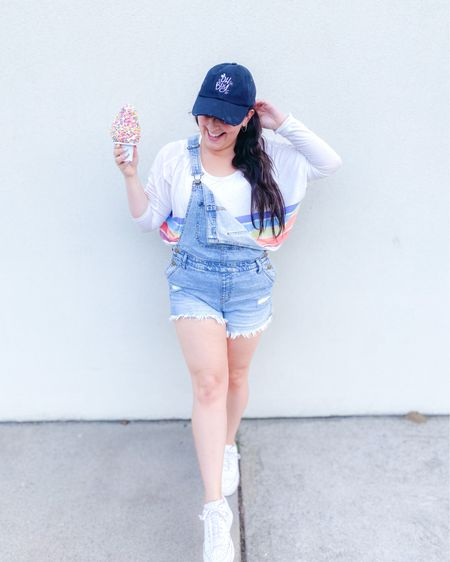 Overalls and white sneakers with a pop of rainbow  Hat: @mainstmorgan on IG use code George15 to save   #LTKunder50 #LTKstyletip #LTKshoecrush