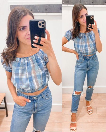 American Eagle try on // off shoulder smocked plaid cropped top (xs), Mom jeans (tts) http://liketk.it/3hF82  #liketkit @liketoknow.it #LTKstyletip