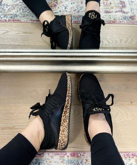 Monogrammed leopard sneakers - under $40!! - black sneakers - monogram sneakers - fall sneakers - women's runners - women's sneakers - fall Shoes   #LTKunder100 #LTKunder50 #LTKshoecrush