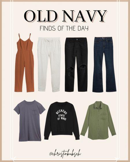 Old navy finds of the day   http://liketk.it/3elLO @liketoknow.it #liketkit #LTKunder50 #LTKunder100 #LTKsalealert   Dress Denim Sweatshirt Jumpsuit Spring Style Linen
