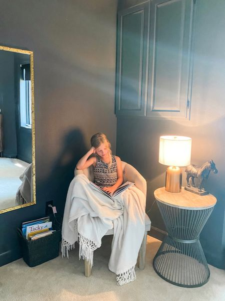 Reading nook in the dark bedroom. This chair is perfect!   http://liketk.it/3iihQ #liketkit @liketoknow.it #decor #furniture #decor #slipperchair #sidetable #endtable #books #booknook #guestroom #biggirlbedroom #gold #goldmirror #goldaccents #chair #lamp #goldlamp
