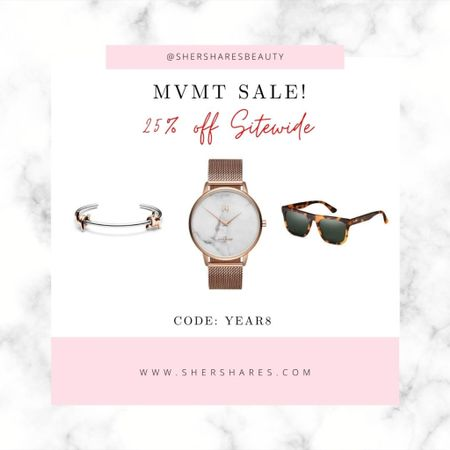 MVMT sale on watches, sunglasses and jewelry! 25% off sitewide, using Code: YEAR8   #LTKsalealert