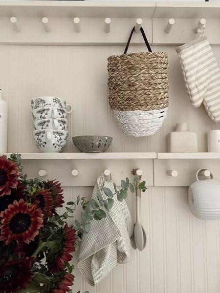 Shelf decor, kitchen shelves diy, hanging basket and more decor       #LTKunder100 #LTKunder50 #LTKhome