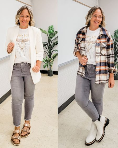 Casual everyday summer into fall teacher mom outfit featuring gray jeans, a Bon Jovi rock band graphic tee, a white blazer, a plaid flannel wool shacket shirt jacket, white studded Dolce Vita Chelsea lug boots, and rose gold copper Birkenstocks #falltransition #bonjovi #bandtee #grayjeans #greyjeans #shacket #whiteblazer #Birkenstocks #Casual #comfortable #teacher #mom #petite #lifestyle http://liketk.it/3nLw1 @liketoknow.it #liketkit