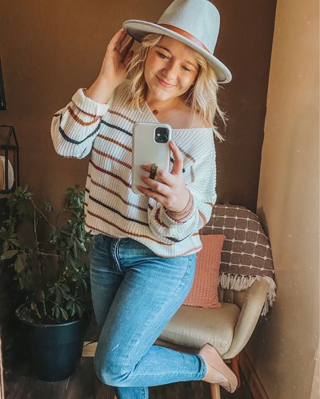 Striped sweater, fall sweater, SHEIN sweater, American Eagle Jegging, mules, pointy toe, disc necklace, wrap bracelet, fall hat, felt hat, Amazon hat, amazon finds. http://liketk.it/2ZYyC #liketkit #LTKstyletip #LTKsalealert #LTKunder50 #ltkfall @liketoknow.it