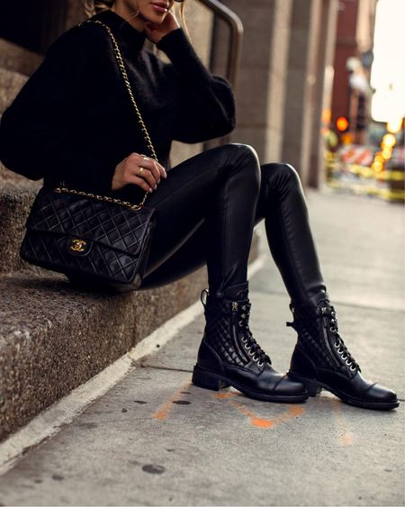 All black fall outfit  Chanel combat boots (linking affordable styles I love) Blank NYC Faux Leather Pants  H&M sweater  Chanel bag  #LTKunder100 #LTKstyletip #LTKshoecrush