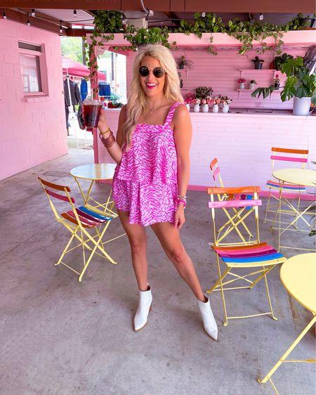 Pink zebra print tank top size medium  Pink zebra print shorts size M  White booties nsale TTS - multiple colors and worn year round.  Brown aviator sunglasses  Two piece set, vacation outfit, summer outfit, bracelet stack 20% off until Friday   http://liketk.it/3jzbJ #liketkit @liketoknow.it #LTKsalealert #LTKshoecrush #LTKstyletip