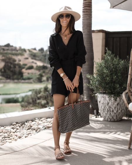 Summer set, Wearing Carter sweater set in size XS- I'm just shy of 5'7 for reference (black color currently sold out), fedora hat, tote bag, summer outfit ideas, sandals, StylinbyAylin @liketoknow.it #liketkit http://liketk.it/3hUxw