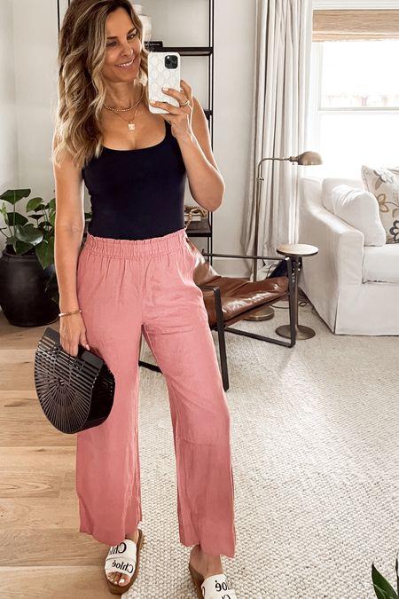 Linen blend pants #ltksale summer outfit Herfashionedlife    #LTKsalealert #LTKSeasonal #LTKunder50