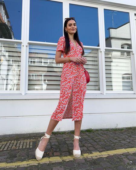 Red floral midi dress, espadrille wedges. Summer style  @liketoknow.it #liketkit http://liketk.it/3iGv0