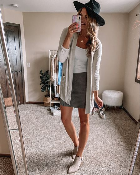 Barefoot dreams cardigan / black felt hat / BlankNYC suede mini skirt / abercrombie bodysuit / beige target booties   #LTKunder100 #LTKstyletip #LTKsalealert  #LTKsalealert #LTKstyletip #LTKunder100