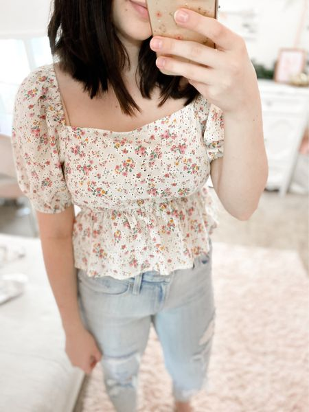 How cute is this floral top from wild fable at target! Loving the eyelet design for warmer days + it's just $20!✨  #LTKstyletip #LTKunder50 #LTKunder100