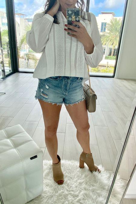 Summer looks- vacation style - everyday  White top Denim shorts @liketoknow.it.family @liketoknow.it.brasil @liketoknow.it.europe  Booties   http://liketk.it/3hWch #liketkit @liketoknow.it #LTKtravel #LTKshoecrush #LTKstyletip