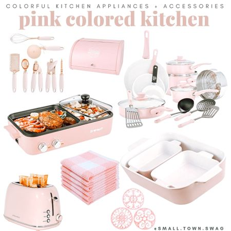 Pink colored kitchen accessories and appliances!  If you like what you see, then be sure to head over to Instagram and follow me @small.town.swag! I share more of my crazy mom life, fun finds like these, home decor and more there!  Kitchen // kitchen gadgets // appliances // kitchen appliances // drew Barrymore Walmart // Drew Barrymore beautiful line // Walmart home // bowls // bowl // mixing bowls // mixing bowl // measuring cup // measuring cups // measuring spoon // measuring spoons // toaster // air fryer // blender // toaster oven //coffee maker // knife block // pots and pans // Dutch oven// kitchen pans // frying pans // pot // pots // knives // modern kitchen // toaster // cookware // white utensils // bread container // bakeware // flatware // dash appliances // Amazon home // Amazon kitchen  #LTKfamily #LTKsalealert #LTKhome