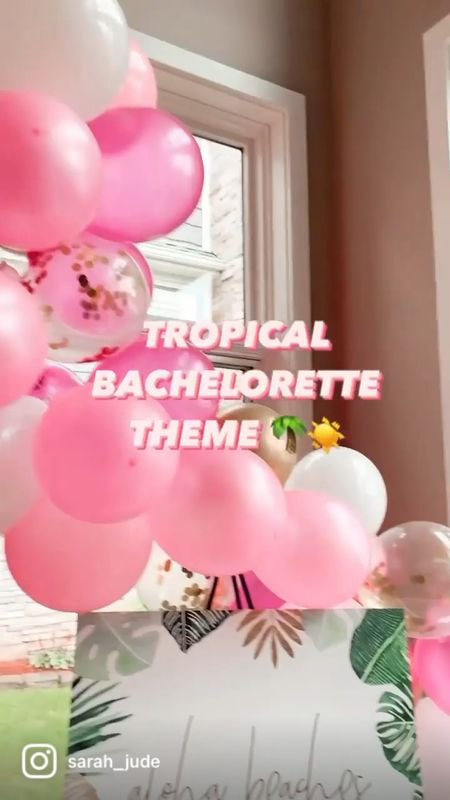 TROPICAL THEME BACHELORETTE DECOR! 🌴☀️😍  All decor & all the bachelorette goodies in this video are linked here! Happy to answer any questions about decor & set up via message on Instagram: @sarah_jude! 💕💕   #LTKunder100 #LTKwedding #LTKSeasonal