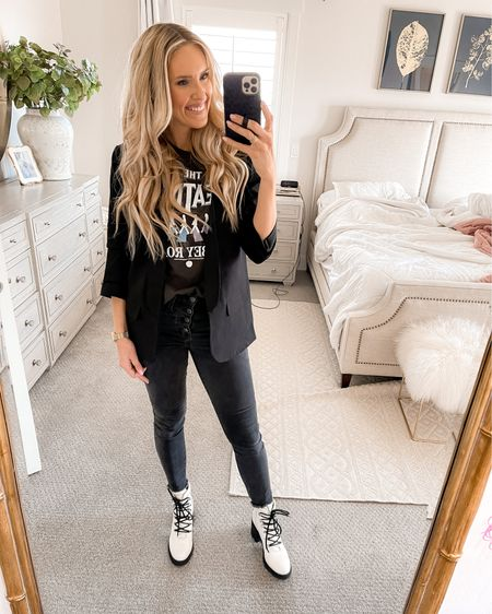 LOVE this Beatles tee, these white booties and this cardigan! Also my fav black jeans. All run to true to size except jeans (size down 1). http://liketk.it/35vf3 #liketkit @liketoknow.it #LTKunder50 #LTKunder100 #LTKsalealert