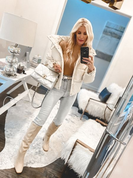 Happy Monday gorgeous ladies! 🤍 A stylish puffer jacket is one essential every fall wardrobe needs! I love this faux leather ivory puffer because it's not only warm and cozy but it looks good too! Pair it with jeans and boots or even sneakers for an easy fall look that works every time!   PS - you won't believe the price of this faux leather beauty! And my jeans and sweater are UNDER $100! It runs tts, I'm wearing an XS.   Have a beautiful day! 🤍     #LTKunder100 #LTKshoecrush #LTKstyletip