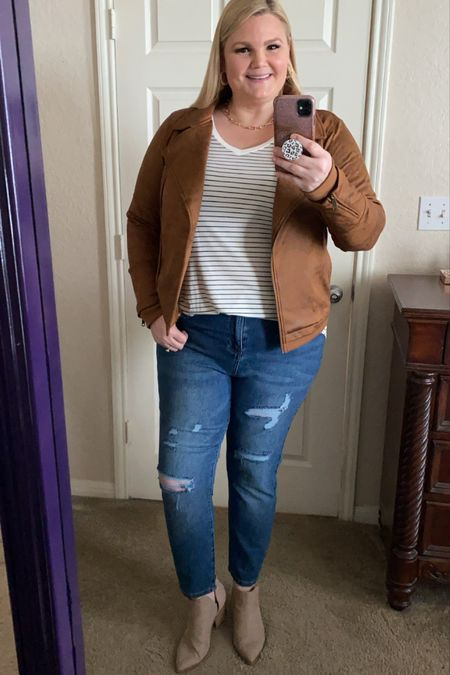 Grace & Lace fall outfit! Leather-like moto jacket is stretchy- works with bigger chests and broad shoulders! True to size. I'm wearing the XL. Striped long sleeve tee true to size. High waist mom jeans. Size down if between sizes. Not stretchy but they do relax as you wear them. Save 15% with code EMILY15.    #LTKSeasonal #LTKworkwear #LTKcurves