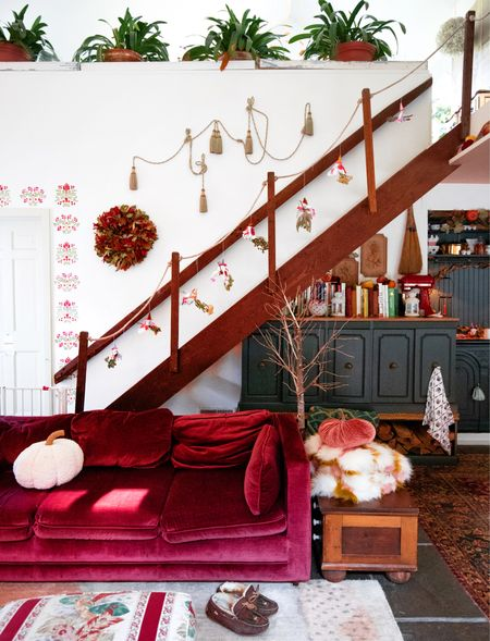 Feeling spooky in here! Check out the witch garland going up the stairs! I made them with Etsy florals!   #LTKSeasonal #LTKhome #LTKHoliday