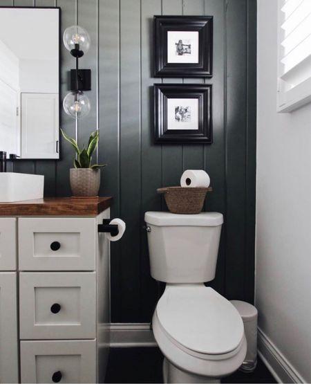 Modern Bathroom Reno! Vertical shiplap & moody colors!   #LTKhome #LTKunder50 #LTKstyletip