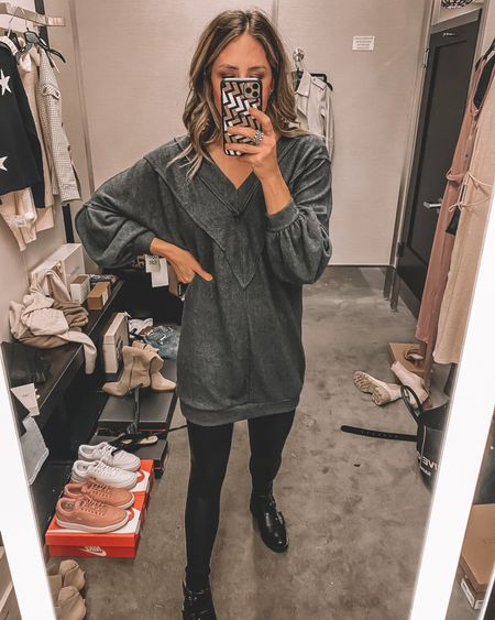 Nsale casual outfit idea for fall: vneck sweatshirt dress with spanx black faux leather leggings and combat boots - still in stock   #LTKstyletip #LTKsalealert #LTKshoecrush
