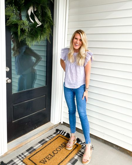 Casual date night spring outfit! My top is under 30 and comes in three colors and the fit of my high waisted jeans is so so good! 🙌 http://liketk.it/3dGi1 #liketkit @liketoknow.it #LTKunder50
