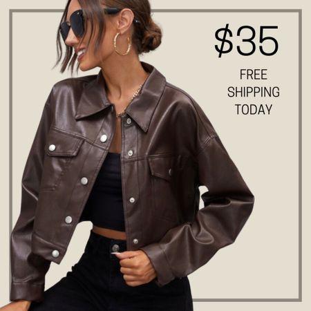 Button front faux leather crop jacket   #LTKstyletip #LTKunder50 #LTKunder100
