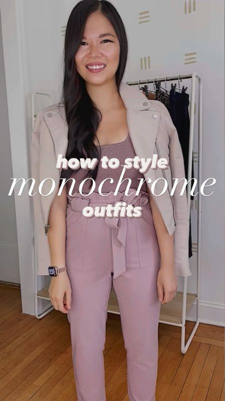 Four monochrome work outfits that will up your office style. Pieces are from Amazon, Ann Taylor and Abercrombie.  Look 1 (all black): black puff sleeve too (XS), black wide leg pants (S – has an elastic waistband!), leopard heels (6.5 TTS).  Look 2 (lilac): beige faux leather moto jacket (XS), mauve sweater tank (XS), lilac pants (XS), nude strappy mules (linked similar), quilted bag.  Look 3 (beige): beige cardigan (linked similar), nude square neck tank (XS), beige wide leg pants (M – size up!), suede mules (6.5 TTS).  Look 4 (mustard): rust cardigan (XS), cream tank (XS), mustard pants (XS), leopard flats (linked similar).  Work wear, work style, Amazon fashion, Amazon finds, fall outfit, fall style, work pants.   #LTKstyletip #LTKunder50 #LTKworkwear