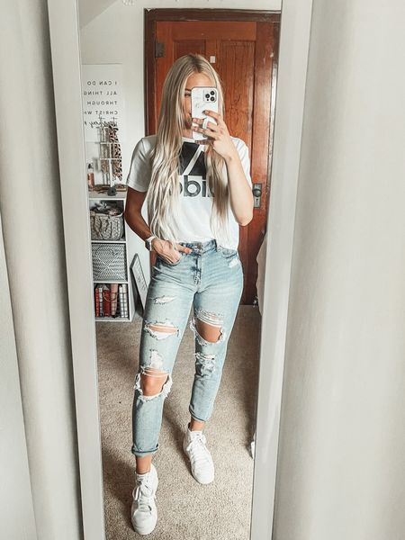 A go-to weekend outfit 🙌 mom jeans are from American Eagle, adidas trefoil shirt, and platform sneakers from adidas  #LTKstyletip #LTKunder50 #LTKfit