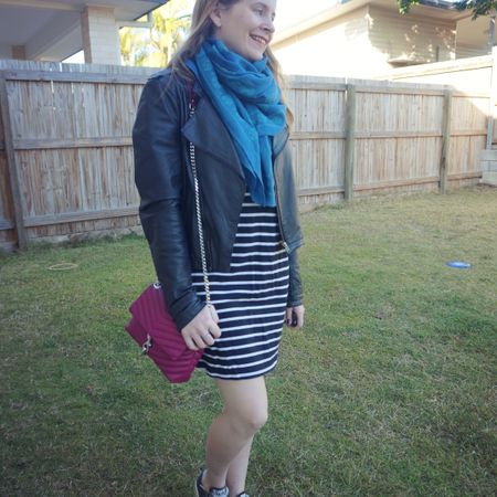Adding a couple layers to this little black striped tee dress to keep me cosy on a cooler morning the other week. Ended up taking off the leather jacket mid morning when it warmed up nicely, but I appreciated it on the cooler school drop off at the start of the day! I really liked the extra colour this teal Alexander McQueen skull scarf and magenta Rebecca Minkoff Edie bag added to the black and white outfit. Regretted my bag choice when I spilled hand sanitiser on this cute little bag though 😭 hand sanitiser and leather bags don't mix, the alcohol in the sanitiser stripped the colour off the leather. Lucky just a smallish spot on the back!   ----------------------- ------------------ ----------------- --------------- ---------------------- -------------------  Screenshot this pic to shop the product details from the @liketoknow.it app, or click here: http://liketk.it/3mxh2 #liketkit #LTKaustralia #LTKitbag #everythingLooksBetterWithABag #everydaystyle #realeverydaystyle #wearedonthestreet #realmumstyle #nevervainalwayscolour #mumlife #schoolRunStyle